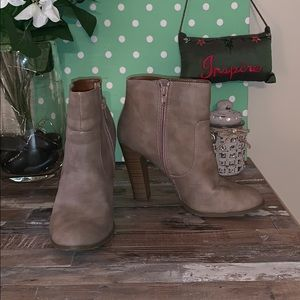Shoes - Awesome Taupe Heeled Booties